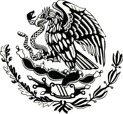 Black and white Mexico Coat of Arms Carved Style