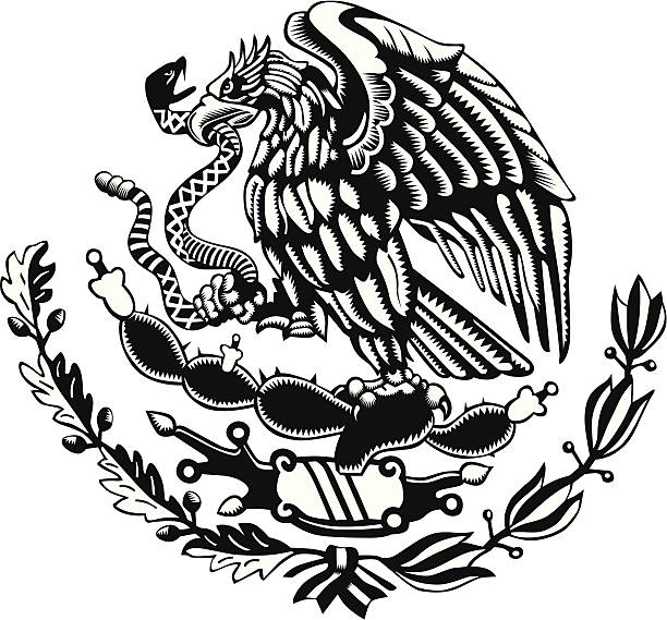 Black and white Mexico Coat of Arms Carved Style vector art illustration