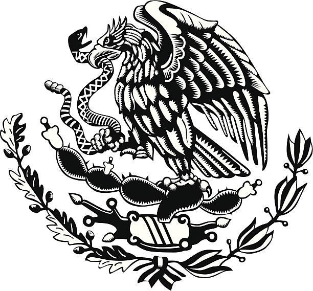 ilustraciones, imágenes clip art, dibujos animados e iconos de stock de blanco y negro méxico escudo de armas tallado estilo - bandera mexicana