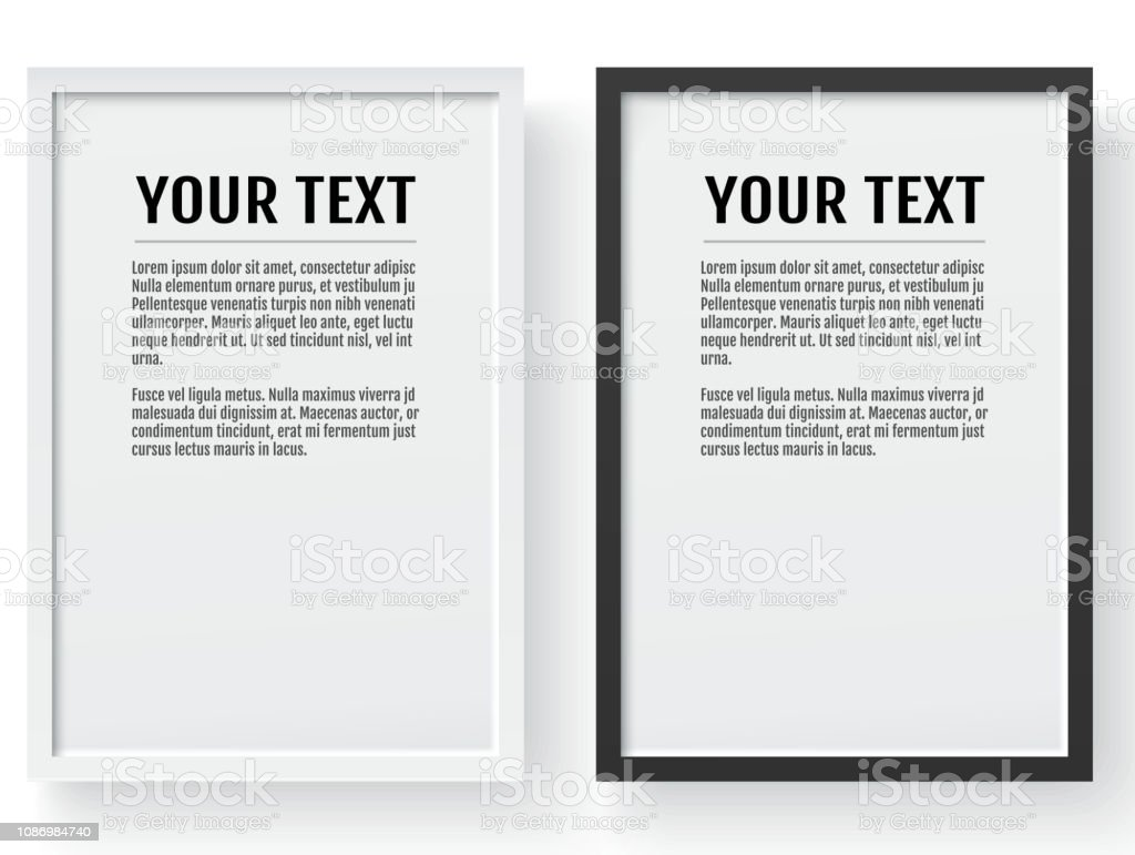 Black and white modern frame, vertical mockup. Place for text, photo, gift or others. Vector illustration. vector art illustration