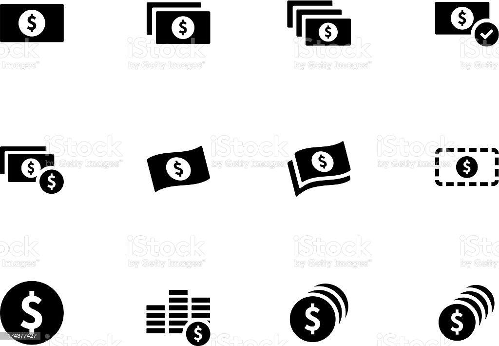 Black and white money icon set vector art illustration