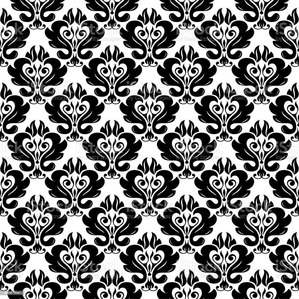 Black And White Monochrome Nahtlose Blumenmuster Stock Vektor Art