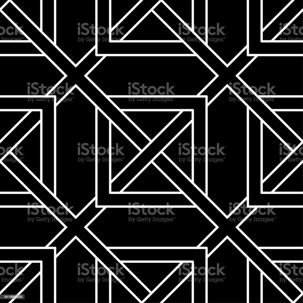 Black And White Monochrome Geometrische Nahtlose Muster Stock Vektor