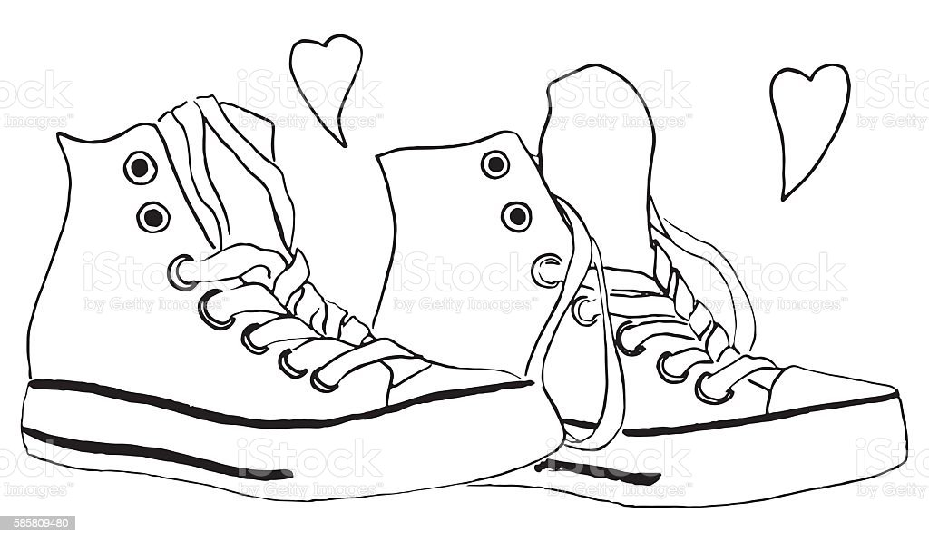 Black and white monochrome sneakers shoes hearts love isolated vector vector art illustration