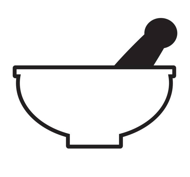 black and white mortar and pestle icon vector. - mixing bowl stock illustrations, clip art, cartoons, & icons