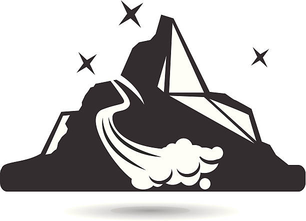 Black and White Mountain Icon A royalty-free clip art vector of a mountain icon, great for use for skiing, snowboarding and various other logo-ish works.   avalanche stock illustrations