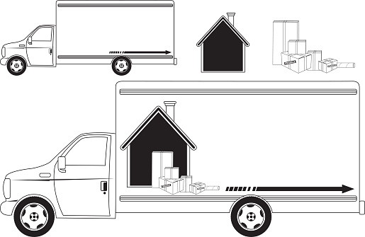 Black and White Moving Truck