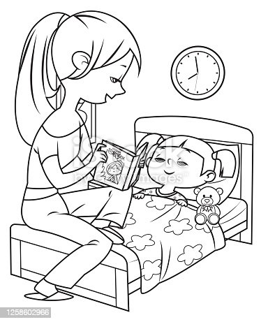 istock Black And White, Mum reading bedtime story to little daughter 1258602966