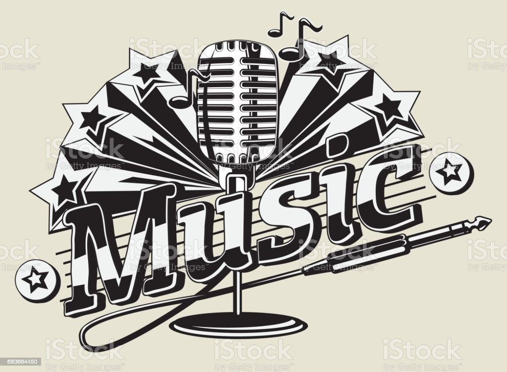Black and white music emblem vector art illustration