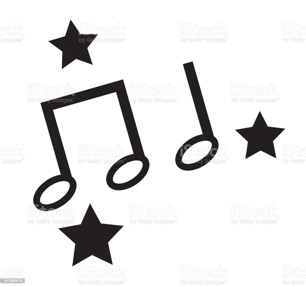 black and white music notes white stars icons vector isolated in rh istockphoto com Music Notes Symbols Music Note Clip Art