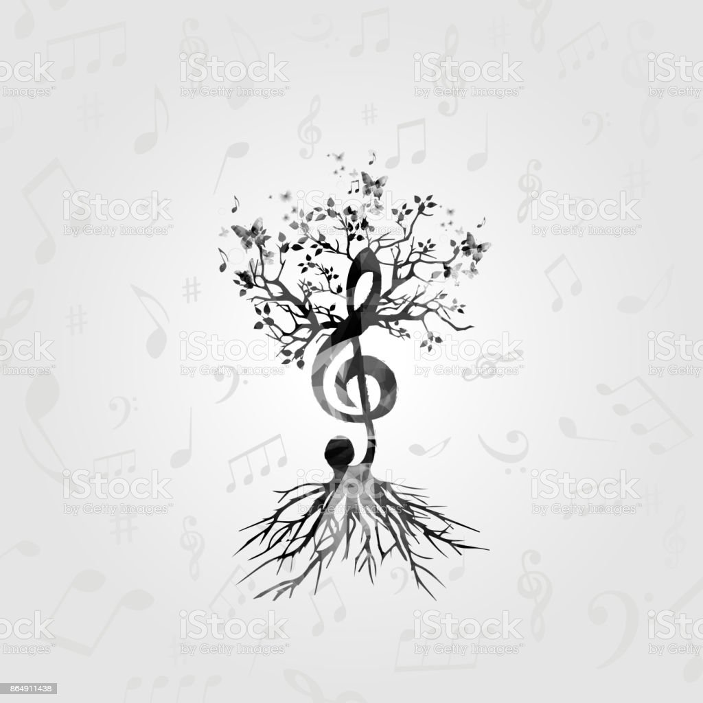 Black And White Music Poster With Gclef Tree Stock Vector Art More