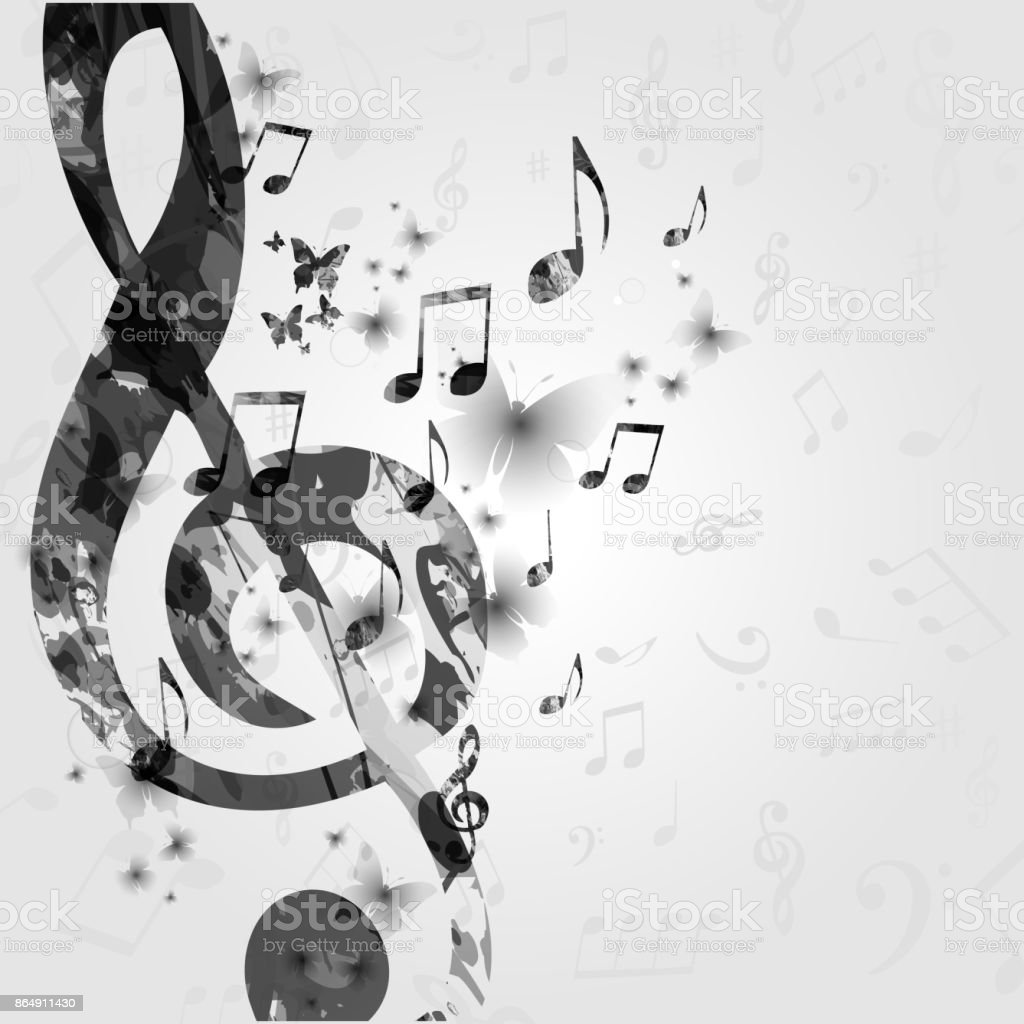 Black and white music poster with music notes royalty free black and white music poster
