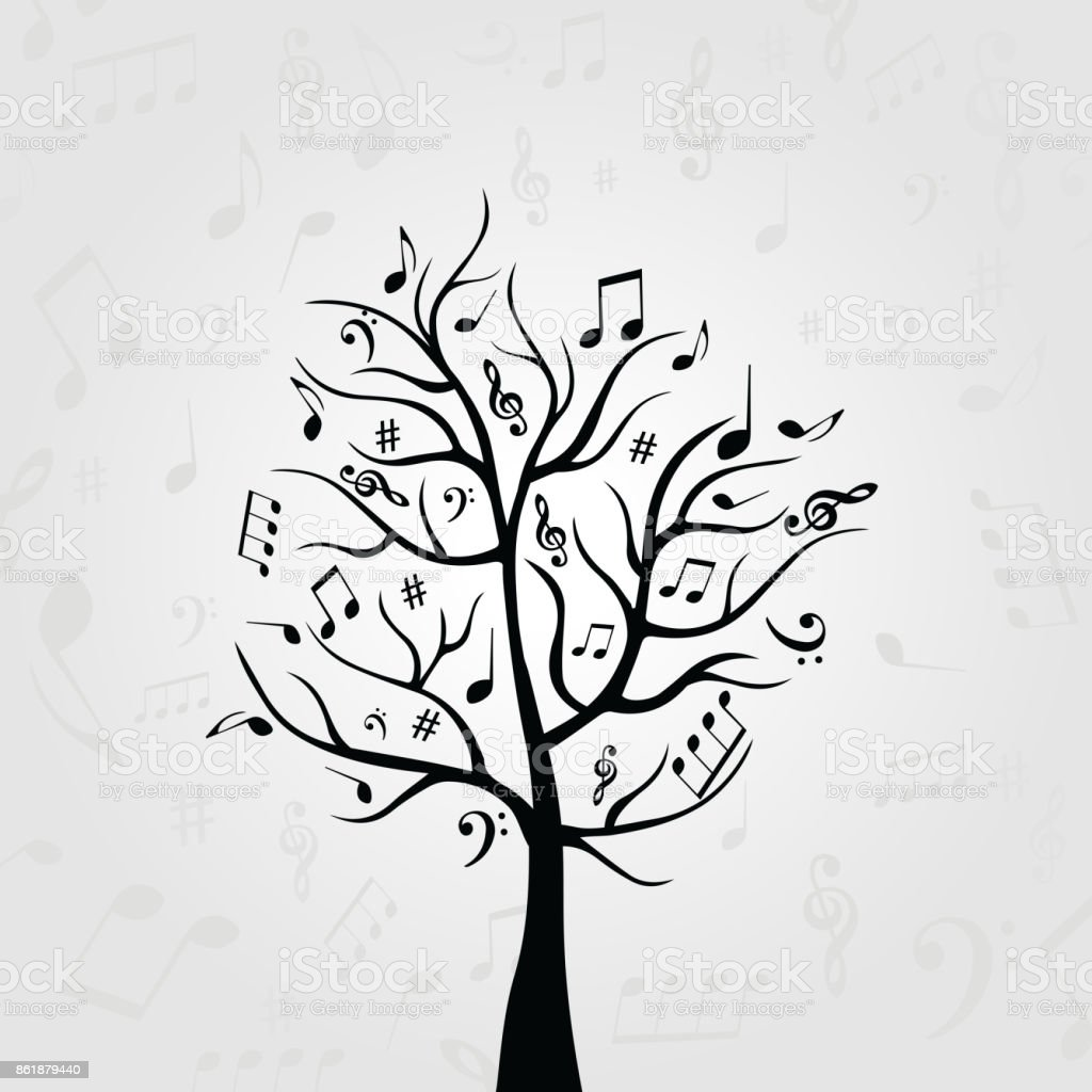 Bekannt Schwarz Weiß Musik Baum Mit Noten Stock Vektor Art und mehr Bilder  VB28