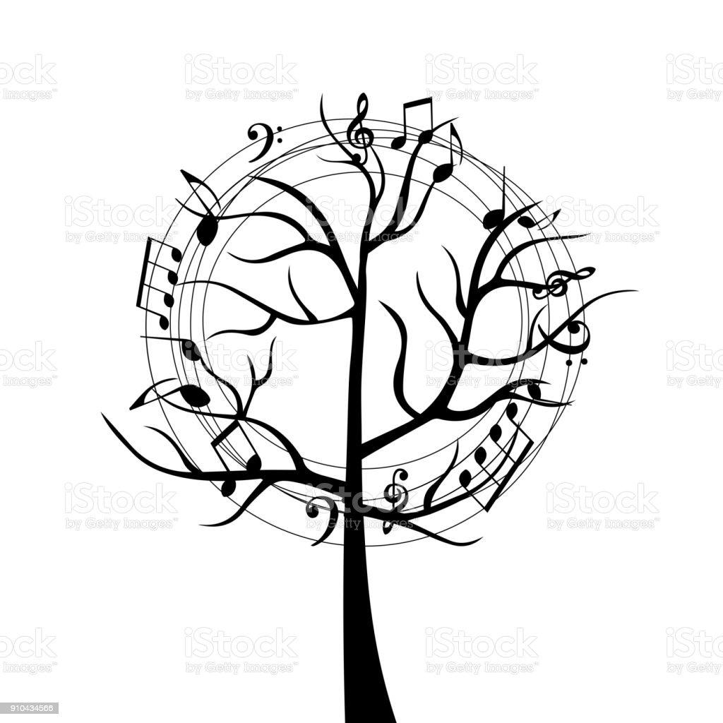 Einzigartig Schwarz Weiß Musik Baum Mit Noten Stock Vektor Art und mehr Bilder  RL66