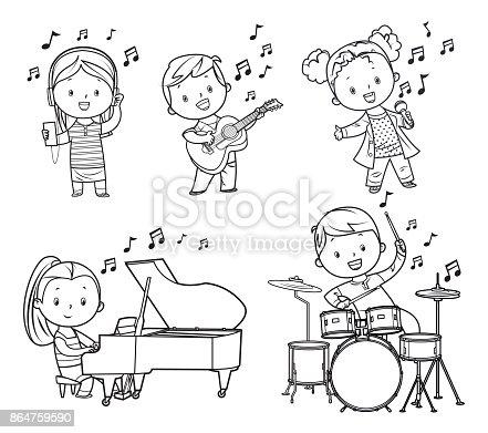 Vector black and white musicians children