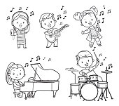 Vector black and white musicians children