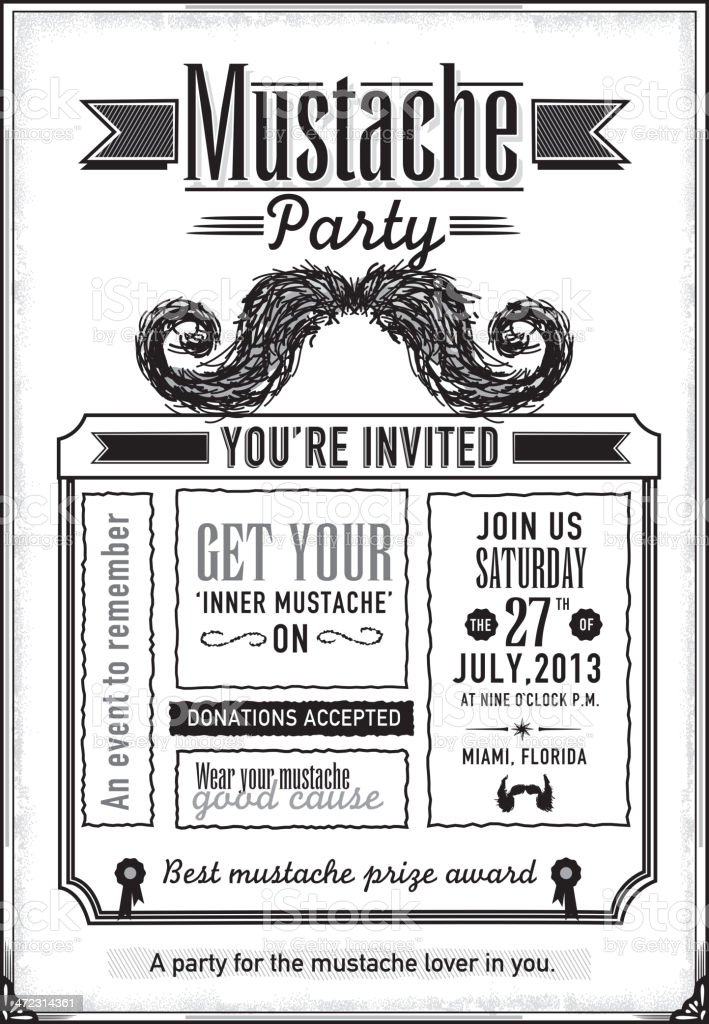 Black And White Mustache Party Celebration Invitation Design ...