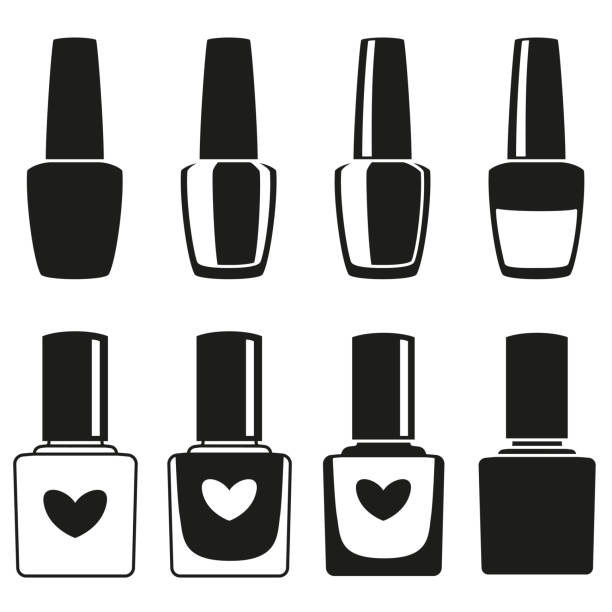 Black and white nail polish silhouette collection Black and white nail polish silhouette collection. Hand hygiene solution. Beauty manicure themed vector illustration for icon, stamp, label, sticker, badge, gift card, certificate or flayer decoration white nail polish stock illustrations