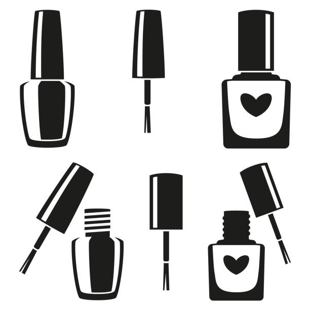 Black and white nail polish silhouette set Black and white nail polish silhouette set. Hand hygiene solution. Beauty manicure themed vector illustration for icon, stamp, label, sticker, badge, gift card, certificate or flayer decoration white nail polish stock illustrations