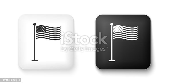 Black and white National flag of USA on flagpole icon isolated on white background. American flag sign. Square button. Vector.