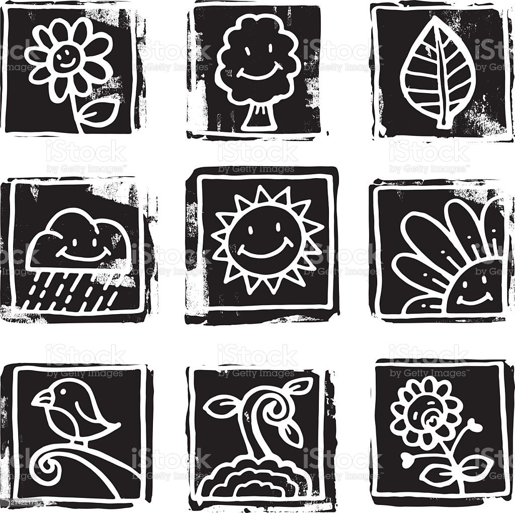 Black and white nature icons royalty-free stock vector art