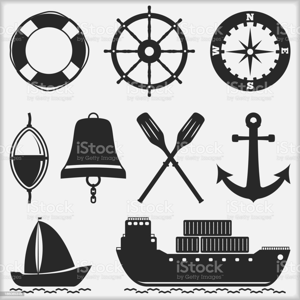 Black and white nautical icons vector art illustration