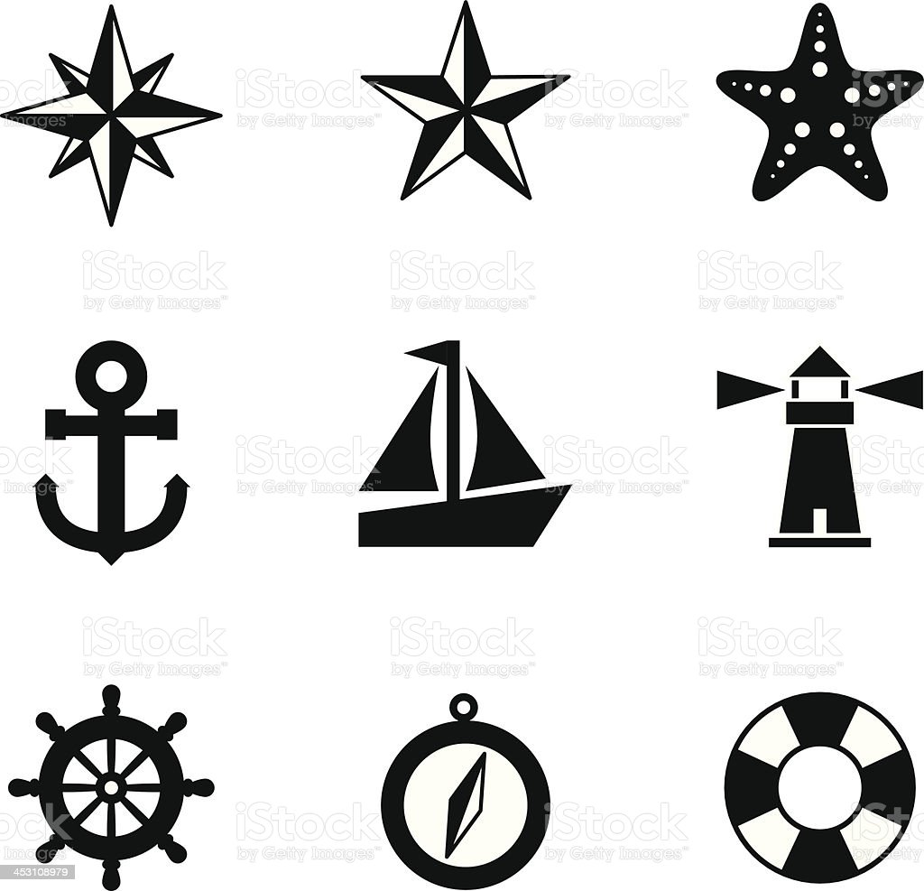 black and white nautical icons stock vector art more images of