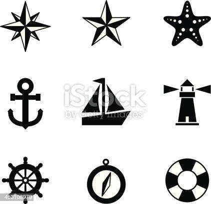 istock Black and white nautical icons 453108979