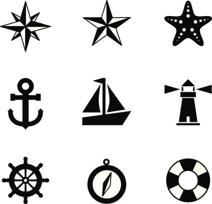 Black and white nautical icons