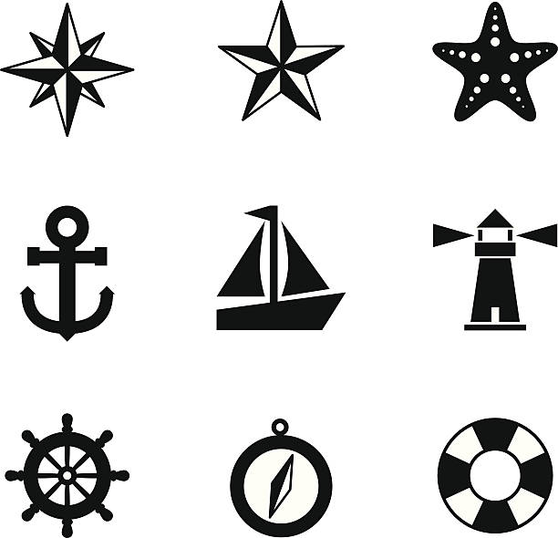 black and white nautical icons - boat stock illustrations