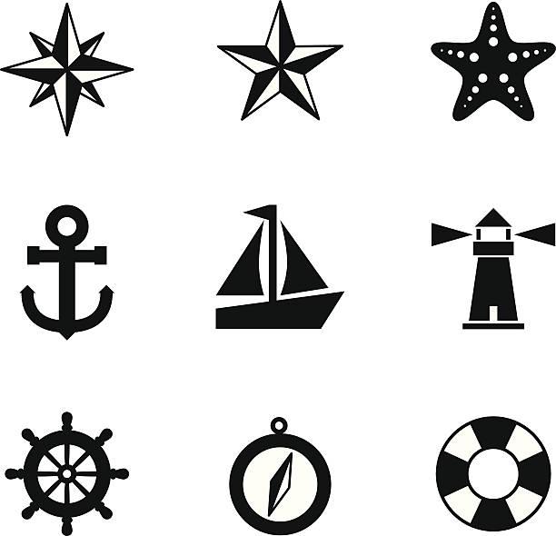 nautische symbole - wasserfahrzeug stock-grafiken, -clipart, -cartoons und -symbole