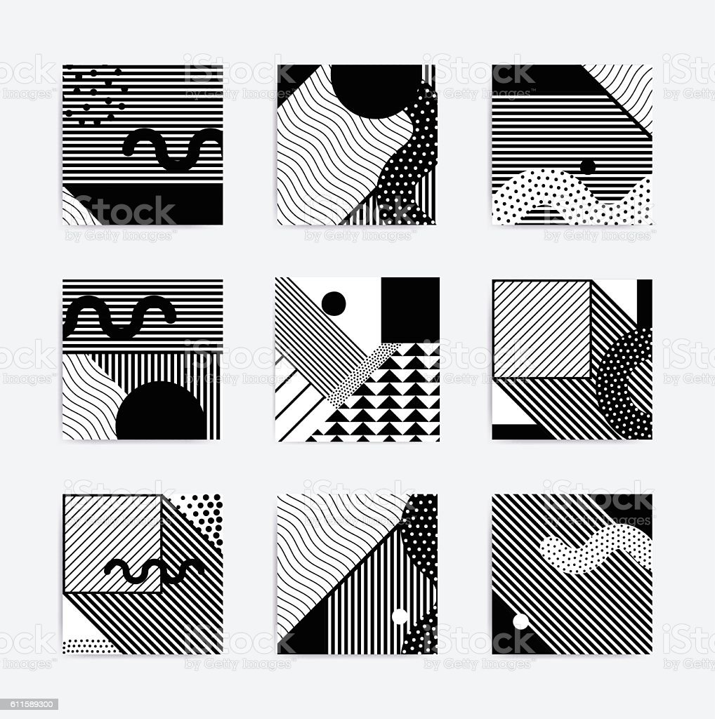 Black and white Neo geometric poster vector art illustration