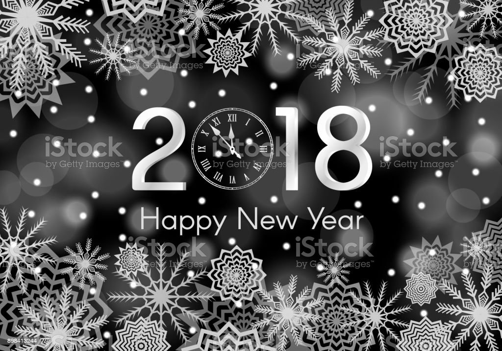 black and white new year 2018 concept falling snow background with flares and sparkles