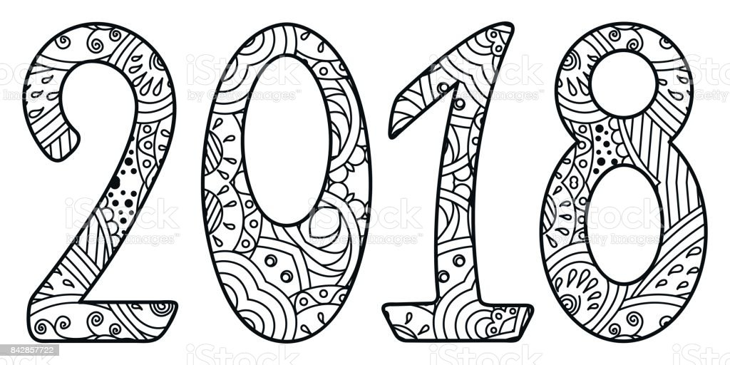 Black And White New Year Numbers 2018 With Ornament Royalty Free