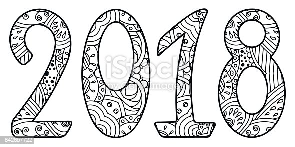 black and white new year numbers 2018 with ornament stock vector art more images of 2018 842857722 istock