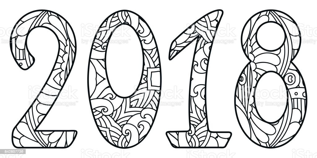 black and white new year numbers 2018 with ornament royalty free black and white
