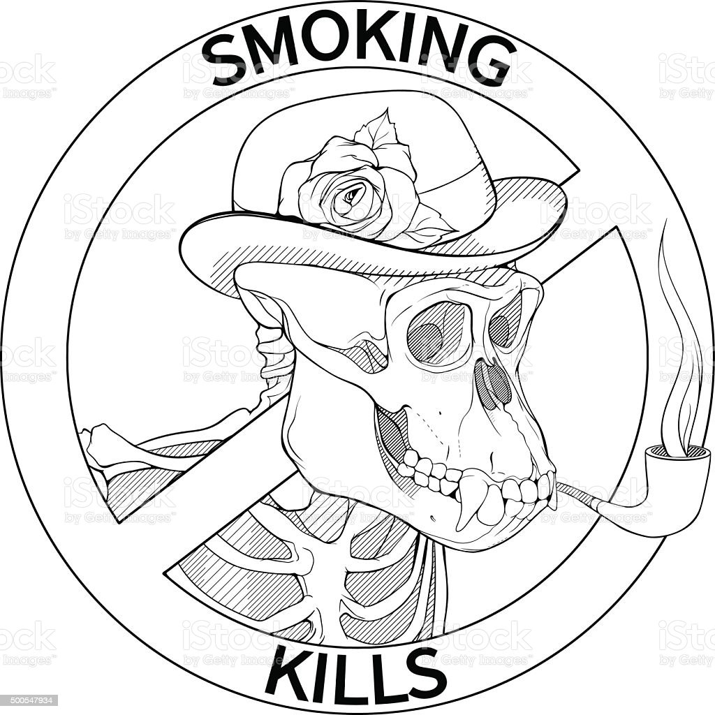 Ilustración de Blanco Y Negro Para No Fumadores De Cantar Con El ...