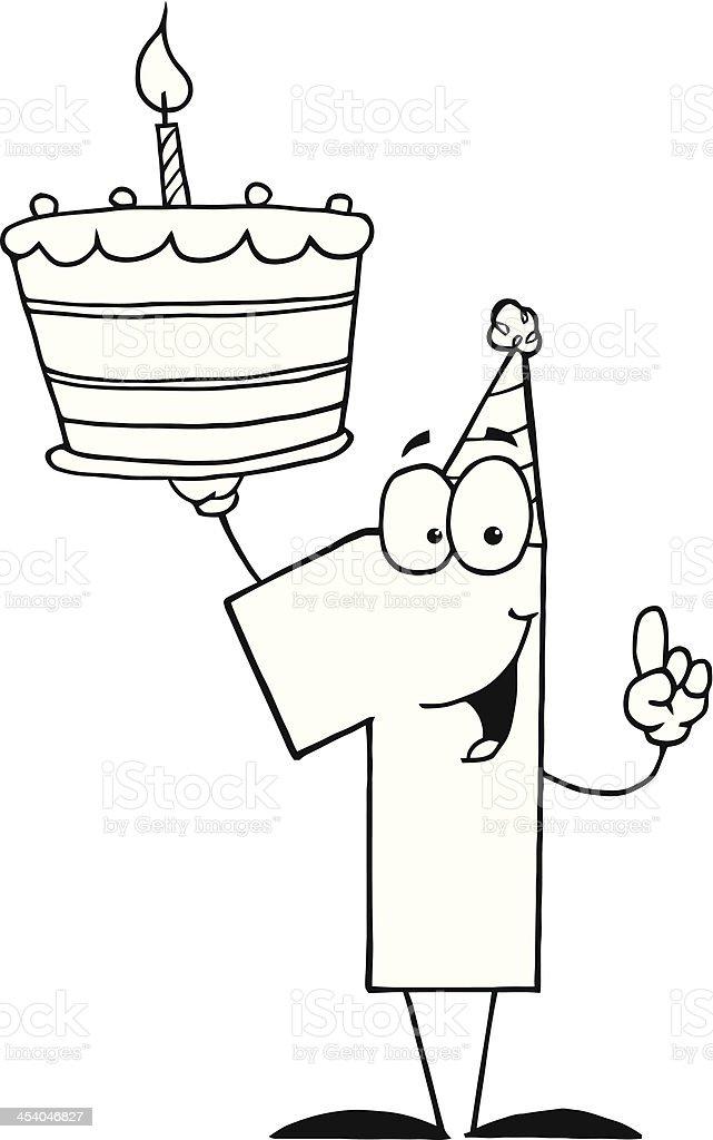 Groovy Black And White Number One With Birthday Cake Stockvectorkunst En Personalised Birthday Cards Akebfashionlily Jamesorg
