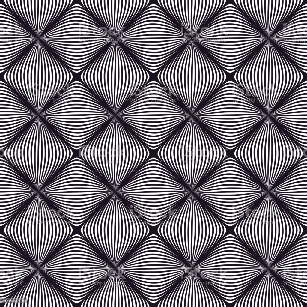 Black and white op art line pattern/ Seamless 3d vector background