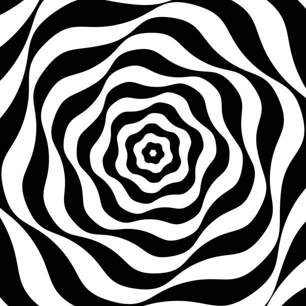 stockillustraties, clipart, cartoons en iconen met zwart-wit op-art - bizar