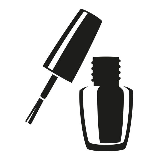 Black and white open nail polish silhouette Black and white open nail polish silhouette. Hand hygiene solution. Beauty manicure themed vector illustration for icon, logo, stamp, label, sticker, badge, gift card, certificate or flayer decoration white nail polish stock illustrations