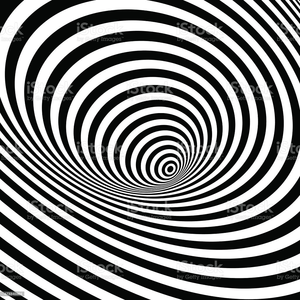 Black and white optical illusion background vector art illustration
