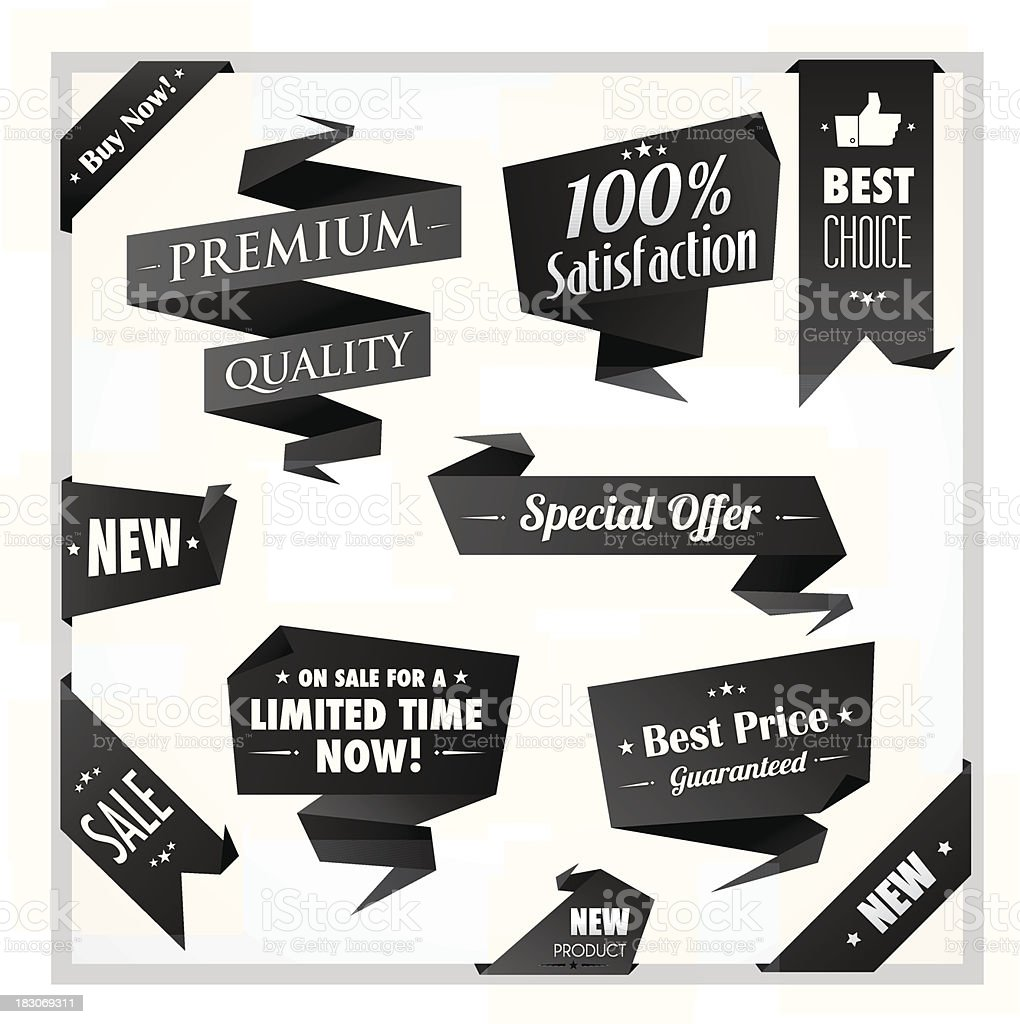 Black and white origami promotion ribbons royalty-free stock vector art