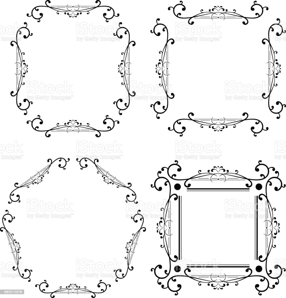 Black and white ornamental frame. Monogram element royalty-free black and white ornamental frame monogram element stock vector art & more images of antique