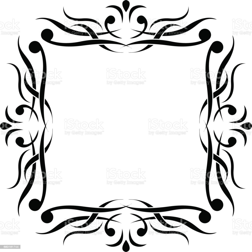 Black and white ornamental frame. Monogram element black and white ornamental frame monogram element - arte vetorial de stock e mais imagens de antiguidade royalty-free