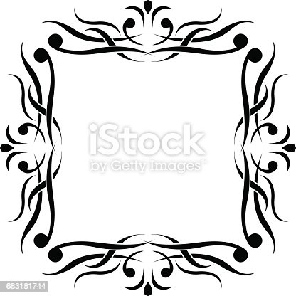 Black And White Ornamental Frame Monogram Element - Arte vetorial de stock e mais imagens de Branco 683181744