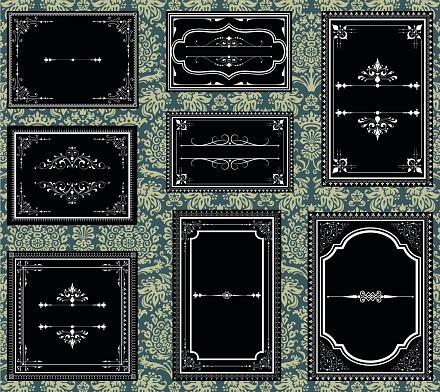 Black and white ornate vintage frames