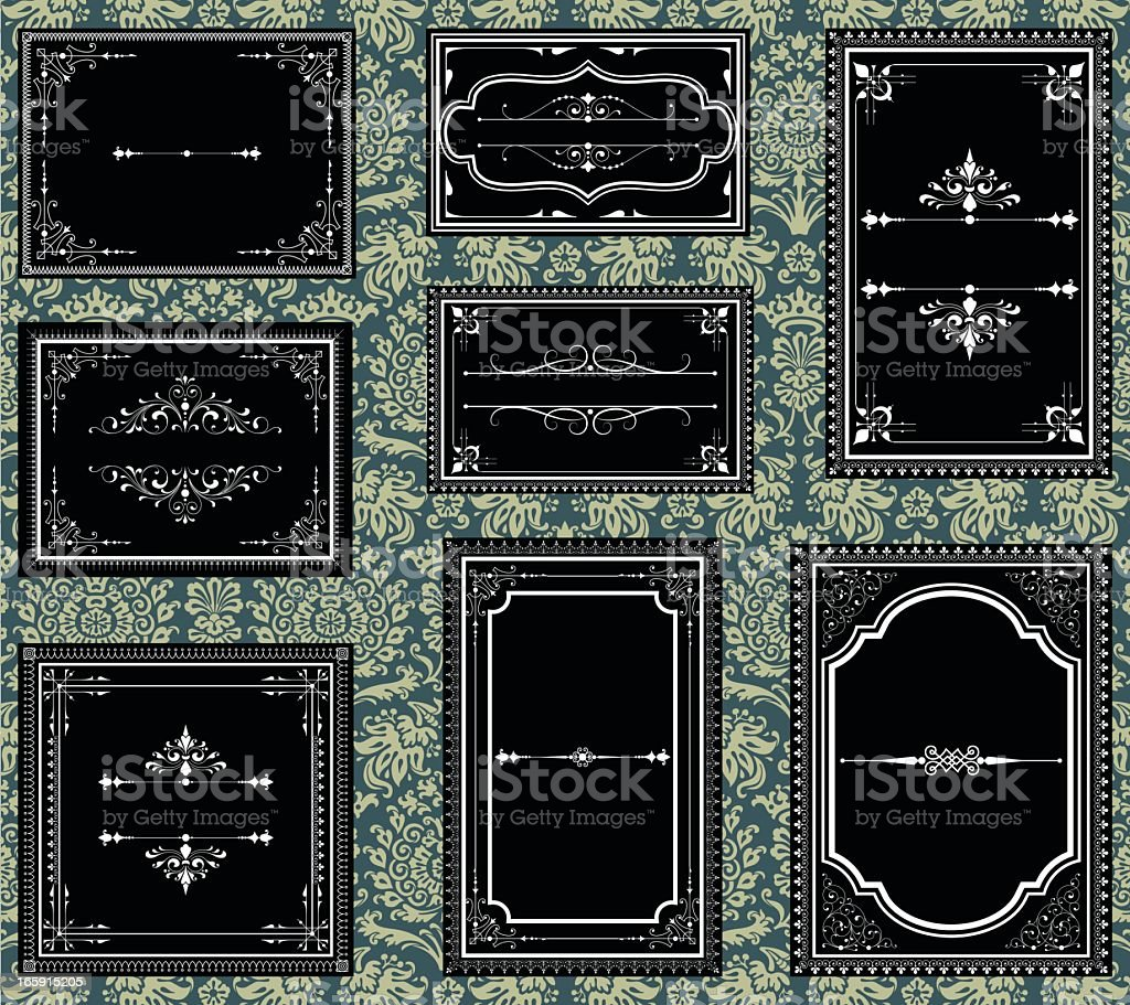 Black and white ornate vintage frames vector art illustration