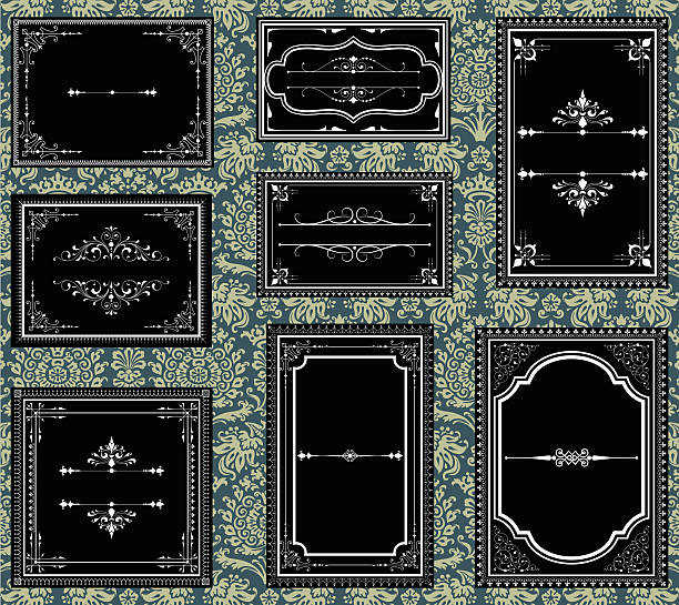 black and white ornate vintage frames - renaissance style stock illustrations, clip art, cartoons, & icons