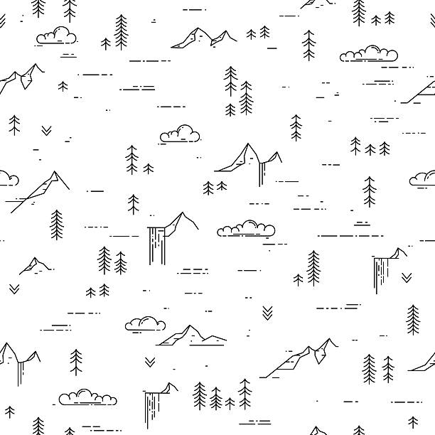 Black and white outdoor seamless background Vector linear seamless pattern with wild landscape elements. Waterfall, mountains, pine trees and clouds. Black and white outdoor seamless background adventure patterns stock illustrations